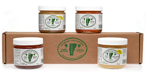 Two- 1lb. Jars of Raw Naturally Crystallized Honey & Two- 1lb. Jars of Liquid Honey