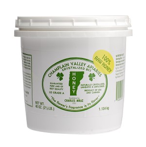 2.5 lb. Plastic Pail of Raw Naturally Crystallized Honey